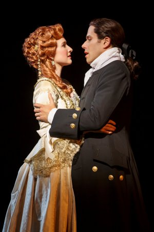 """Erin Mackey and Josh Young in a scene from """"Amazing Grace"""" (Photo credit: Joan Marcus)"""