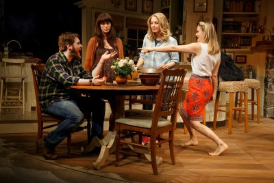 "Nate Miller, Heather Lind, Jennifer Mudge and Alicia Silverstone in a scene from ""Of Good Stock"" (Photo credit: Joan Marcus)"
