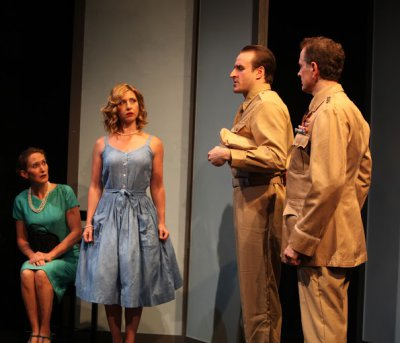 "Sandy York, Jennifer Piacenti, Morgan McCann and Scott Klavan in a scene from ""Sayonara, The Musical"" (Photo credit: John Quincy Lee)"
