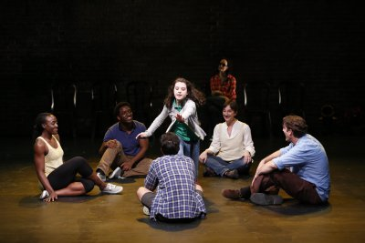 (Clockwise from left) Ito Aghayere, Chinaza Uche, Zoe Wilson, Barbara Walsh (rear), Theresa McCarthy, Patrick Boll and Marc delaCruz (foreground) in a scene from Three Days to See (Photo credit: Carol Rosegg)