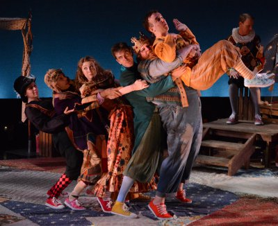 "Oliva Polci, , Patrick Richwood, Chandler Reeves, Geoff Belliston, Ian Farilee and Ian Knauer in a scene from Santino DeAngelo's ""Foolerie"" (Photo credit: Lance Brown)"