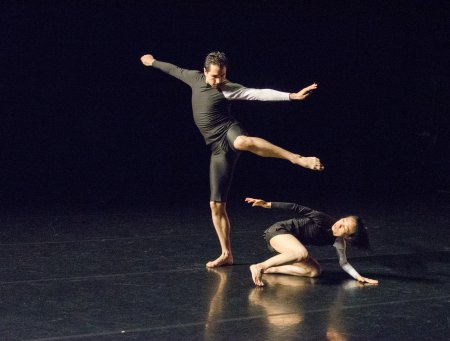 "ZviDance's Robert M. Valdez, Jr. and Kuan Hui Chew of in a scene from ""Escher/Bacon/Rothko"" (Photo credit: Nina Wurzel)"