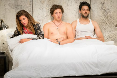 "Alia Attallah, Quinn Franzen and Karan Oberoi in a scene from ""Threesome"" (Photo credit: Hunter Canning)"
