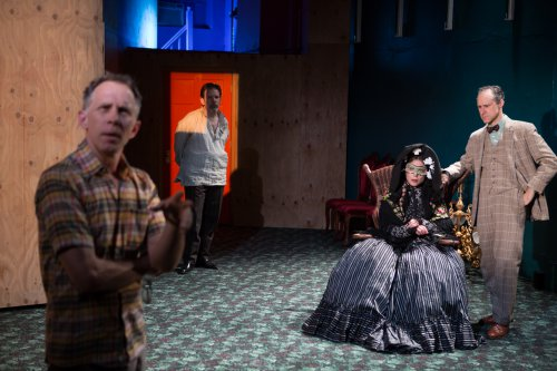 """Bruce McKenzie as the Director, Thomas Jay Ryan, Gibson Frazier and Nina Hellman as the actors in costume in a scene from """"10 out of 12"""" (Photo credit: Julieta Cervantes)"""