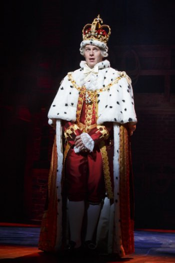 "Jonathan Groff as King George III in a scene from ""Hamilton"" (Photo credit: Joan Marcus)"