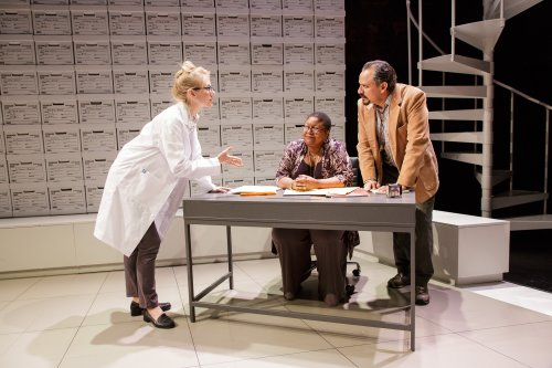"Tina Benko, Myra Lucretia Taylor and Jesse J. Perez in a scene from ""Informed Consent"" (Photo credit: James Leynse)"