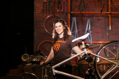 "Elizabeth Barkan in a scene from ""BIKE SHOP"" (Photo credit: Nancy Adler)"