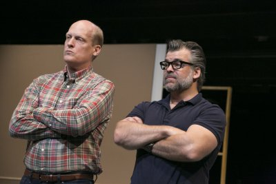 """Jim Fletcher and Brian Mendes in a scene from Richard Maxwell's """"Isolde"""" (Photo credit: Gerry Goodstein)"""