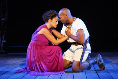 "Karen Olivo and Brandon Victor Dixon in a scene from The Public Theater's free Public Works production of ""The Odyssey"" at the Delacorte Theater (Photo credit: Joan Marcus)"
