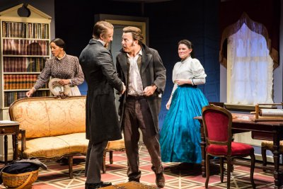"""Krystel Lucas, Michael Schantz, Eric T. Miller and Heather Hollingsworth In a scene from """"Couriers and Contrabands"""" (Photo credit: Al Foote III)"""