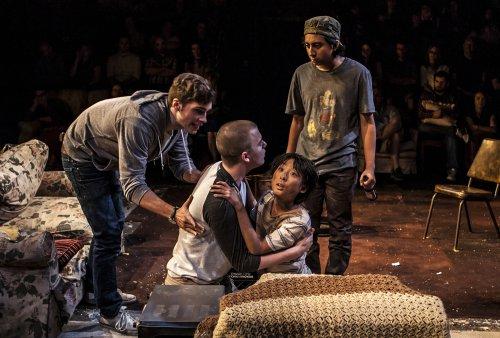 "Zane Pais, Jack DiFalco, Bradley Fong and Tony Revolori in a scene from ""Mercury Fur"" (Photo credit: Monique Carboni)"