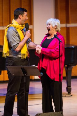 "Matthew Krob and Betty Buckley as they sang ""14 Dwight Avenue, Natick, Massachusetts"" at Broadway Close Up: William Finn (Photo credit: David Andrako)"