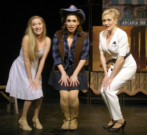 """Jillian Gottlieb (Chloe), Catherine LeFrere (Juno) and Haley Swindal (Helen) in a scene from """"Out of This World"""" (Photo credit: Michael Portantiere)"""