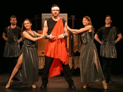"""Evan Mayer, Francesca Arostegui, Jarid Faubel (as Jupiter), Beth DeMichele and Tom De Michele in a scene from """"Out of This World"""" (Photo credit: Michael Portantiere)"""