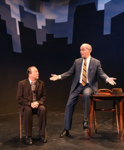 """Avi Hoffman as Willy and Shane Baker as Charley in a scene from """"Death of a Salesman"""" in Yiddish (Photo credit: Ronald L. Glassman)"""