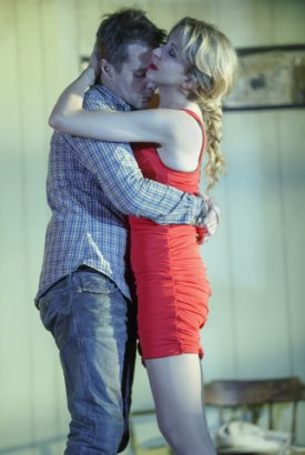 """Sam Rockwell and Nina Arianda in a scene from """"Fool for Love"""" (Photo credit: Joan Marcus)"""