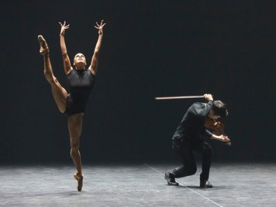 """ABT prima ballerina Misty Copeland and violinist Charles Yang in Marcelo Gomes's """"Paganini"""" (Photo credit: Richard Termine)"""