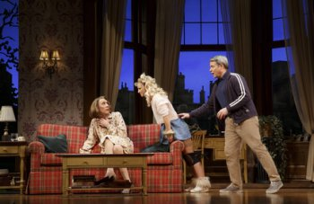 "Robert Sella, Annaleigh Ashford and Matthew Broderick in a scene from ""Sylvia"" (Photo credit: Joan Marcus)"