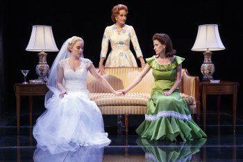 "Betsy Morgan as Tricia Nixon, Barbara Walsh as Pat Nixon, and Caissie Levy as Julie Nixon Eisenhower in a scene from ""Happy Pat,"" the first musical in ""First Daughters Suite"" (Photo credit: Joan Marcus)"
