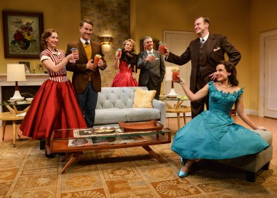 "Julia Coffey, Christopher J. Hanke, Jennifer Van Dyck, Kevin O'Rourke, Robert Eli, and Mikaela Feely-Lehmann in a scene from ""Perfect Arrangement"" (Photo credit: James Leynse)"