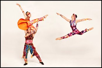 "Amy Ruggiero, John Selya and Ron Todorowksi in a scene ""Yowzie"" with costumes by Santo Loquasto  from Twyla Tharp 50th Anniversary (Photo credit: Ruven Afanador)"