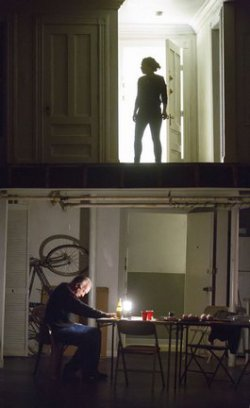 """Reed Birney (below) and Sarah Steele (above) in a scene from """"The Humans"""" (Photo credit: Joan Marcus)"""