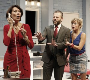 """Lynne Wintersteller, Jeremy Kushnier and Kate Middleton in a scene from the New York production of """"Shear Madness"""" (Photo credit: Carol Rosegg)"""