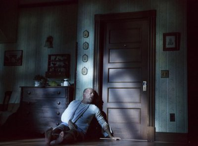 "Bruce Willis as Paul Sheldon in a scene from ""Misery"" at the Broadhurst Theatre (Photo credit: Joan Marcus)"