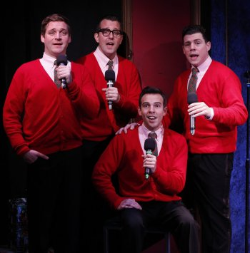 "Bradley Beahen, John-Michael Zuerlein, Jose Luaces and Ciarán McCarthy in a scene from ""Plaid Tidings"" (Photo credit: Carol Rosegg)"