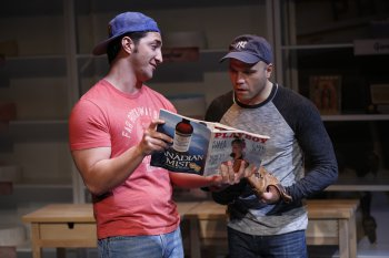 """Christian Thom and Dominick La Ruffa, Jr. in a scene from """"How Alfo Learned to Love"""" (Photo credit: Carol Rosegg)"""
