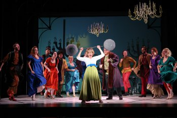 "Jackie Hoffman and Company in a scene from ""Once Upon a Mattress"" (Photo credit: Carol Rosegg)"