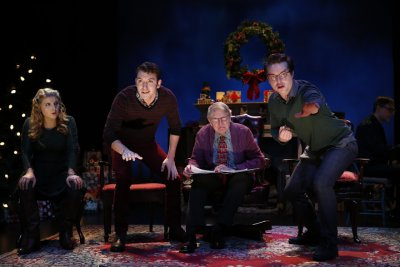 "Katie Fabel, Kenneth Quinney Francoeur, John Collum and Ashley Robinson in a scene from the Irish Repertory Theatre's ""A Child's Christmas in Wales"" (Photo credit: Carol Rosegg)"