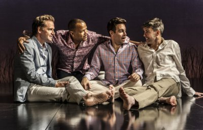 "Malcolm Gets, Jerry Dixon, Mario Cantone and Matt McGrath in as scene from ""Steve"" (Photo credit: Monique Carboni)"