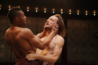 "Tunde Sho as Orestes and Marko Mandič in the title role in a scene from ""Pylade"" (Photo credit: Theo Cote)"