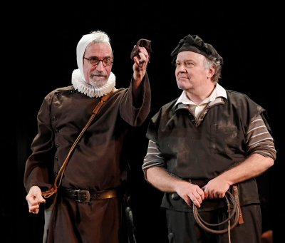 "Christopher McCann as Dr. Alibius and Andrew Weems as Lollio in a scene from Red Bull Theater's production of ""The Changeling"" (Photo credit: Carol Rosegg)"