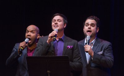 """Darius de Haas, Aaron C. Finley and Greg Hildreth as they appeared in 92Y's Lyrics & Lyricists Series: """"A Funny Thing Happened: Songs from the Road to Broadway!"""" (Photo credit: Richard Termine)"""
