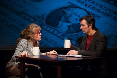 "Maribeth Graham and Jeffrey C. Wolf in a scene from ""Chatting with the Tea Party"" (Photo credit: Matthew Dunivan)"
