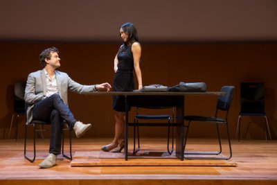 """Joshua Jackson and Anne Son in a scene from """"Smart People"""" (Photo credit: Matthew Murphy)"""