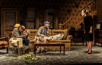 "Paul Sparks, Ed Harris and Amy Madigan in a scene from Sam Shepard's ""Buried Child"" (Photo credit: Monique Carboni)"