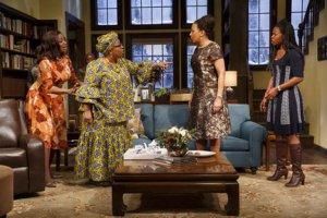 "Melanie Nicholls-King, Myra Lucretia Taylor, Tamara Tunie and Rosalyn Ruff in a scene from ""Familiar"" (Photo credit: Joan Marcus)"