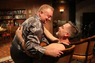 """David Grimm and Liam Torres in a scene from """"Locusts Have No King"""" (Photo credit: Carol Rosegg)"""