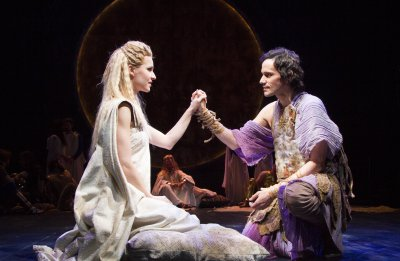 "Gia Crovatin and Christian Camargo in a scene from Trevor Nunn's production of ""Pericles"" (Photo credit: Henry Grossman)"