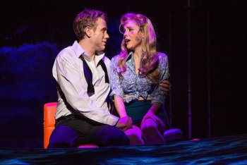 "Adam Pascal and Kerry Butler in a scene from ""Disaster!"" (Photo credit: Jeremy Daniel Photography)"