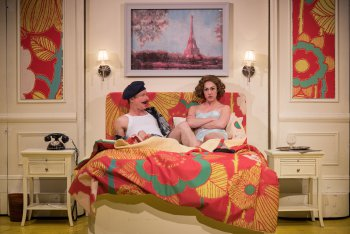 """Brad Heberlee and Kelley Curran in a scene from """"The Dingdong"""" (Photo credit: Russ Rowland)"""