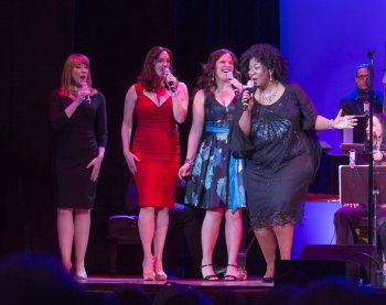 "Emily Skinner, Julia Murney, Lindsay Mendez and NaTasha Yvette Williams as they appeared in 92Y's Lyrics & Lyricists Series: ""Everything's Coming Up Ethel: The Ethel Merman Songbook"" (Photo credit: Richard Termine)"