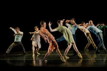 "Ballet Hispanico in a scene from Gustavo Ramírez Sansano's ""Flabbergast"" (Photo credit: Paula Lobo)"