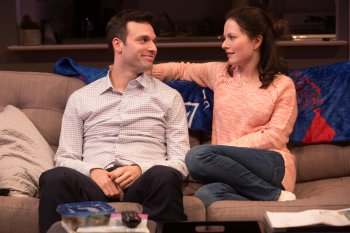 "Jake Epstein and Jenna Gavigan in a scene from ""Straight"" (Photo credit: Matthew Murphy)"