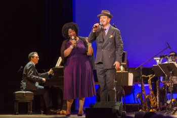 "NaTasha Yvette Williams and Clarke Thorell as they sang ""You Say the Nicest Things"" in 92Y's Lyrics & Lyricists Series: ""Everything's Coming Up Ethel: The Ethel Merman Songbook"" (Photo credit: Richard Termine)"