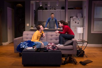 "Thomas E. Sullivan, Jake Epstein and Jenna Gavigan in a scene from ""Straight"" (Photo credit: Matthew Murphy)"