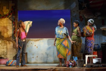 "Zainab Jah, Saycon Sengbloh, Pascale Armand and Lupita Nyong'o in a scene from ""Ecilpsed"" (Photo credit: Joan Marcus)"